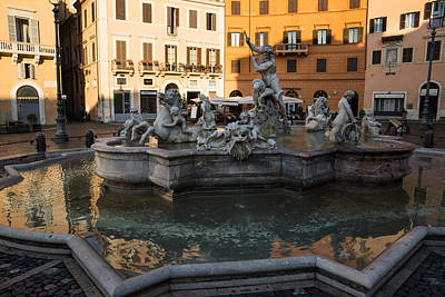 Poster featuring the photograph Neptune Fountain Rome Italy by Georgia Mizuleva