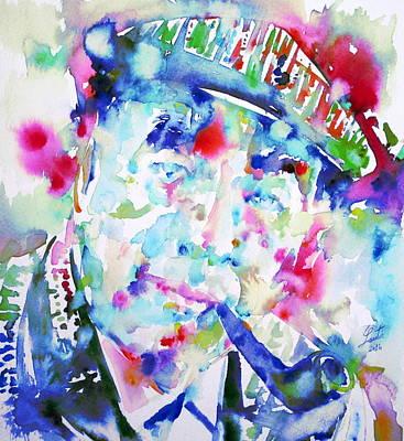 Pablo Neruda - Watercolor Portrait.2 Poster by Fabrizio Cassetta