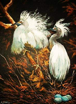 Nesting Egrets Poster by Al Brown