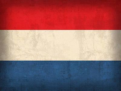 Netherlands Flag Vintage Distressed Finish Poster