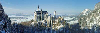 Neuschwanstein Castle Panorama In Winter 2 Poster
