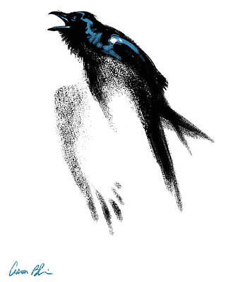 Poster featuring the digital art Nevermore  - Raven by Aaron Blaise