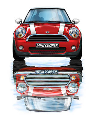 New Bmw Mini Cooper Red Poster by David Kyte