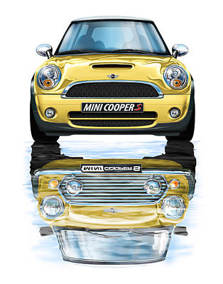 New Bmw Mini Cooper S Yellow Poster by David Kyte