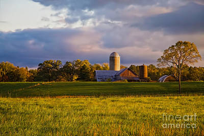 New England Sunrise Painted Barns Silos Stormy  Poster by Sherry  Curry