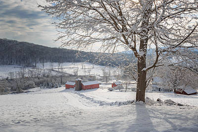 New England Winter Farms Morning Poster by Bill Wakeley