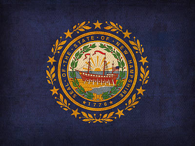 New Hampshire State Flag Art On Worn Canvas Poster