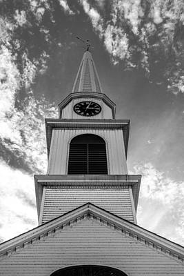 New Hampshire Steeple Detailed View Black And White Poster by Karen Stephenson