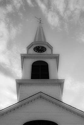 New Hampshire Steeple Dreamy View Black And White Poster by Karen Stephenson