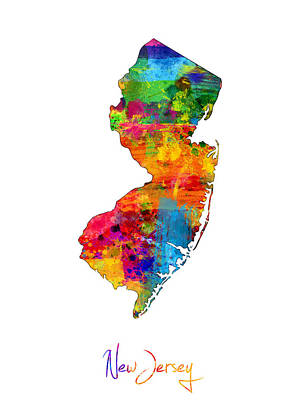 New Jersey Map Poster by Michael Tompsett