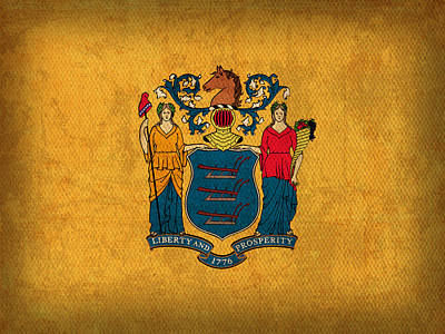 New Jersey State Flag Art On Worn Canvas Poster by Design Turnpike