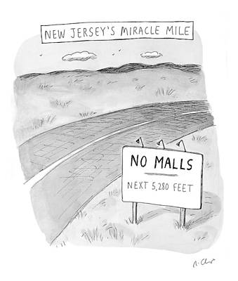 New Jersey's Miracle Mile Poster by Roz Chast