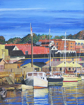 Poster featuring the painting New London Marina by Stuart B Yaeger