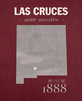 New Mexico State University Las Cruces Aggies College Town State Map Poster Series No 075 Poster by Design Turnpike
