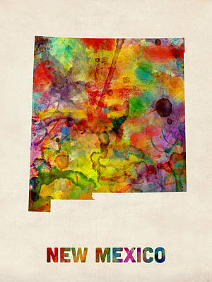 New Mexico Watercolor Map Poster by Michael Tompsett
