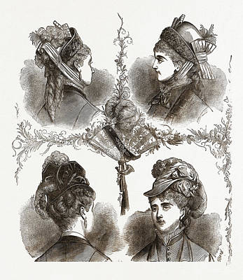 New Models Of Bonnets19th Century Fashion Poster