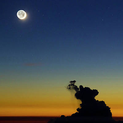 New Moon And Earthshine At Sunset Poster by Babak Tafreshi