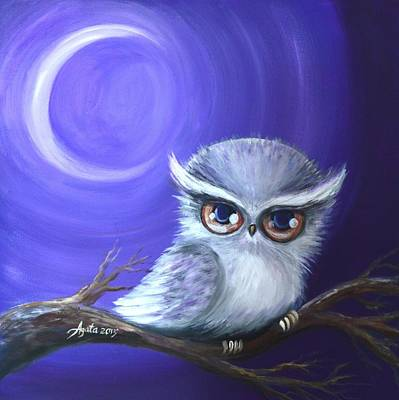 Poster featuring the painting New Moon Owl by Agata Lindquist