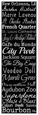New Orleans Louisiana Typography Poster by Susan Bordelon