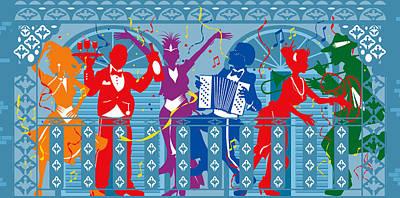 New Orleans Mardi Gras Balcony 2  Poster by Derrick Higgins