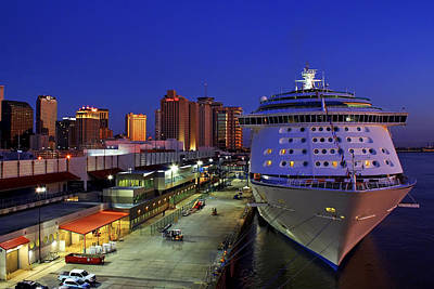 New Orleans Skyline With The Voyager Of The Seas Poster