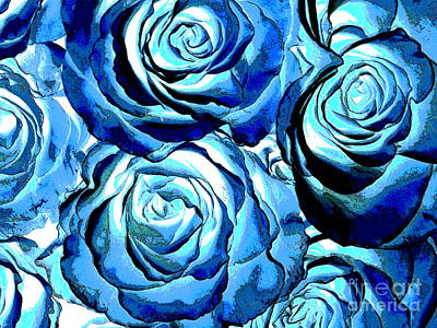 Pop Art Blue Roses Poster