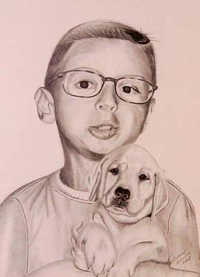Poster featuring the drawing New Puppy by Sharon Schultz