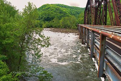 New River Rapids Flow Under The Bridge At Thurmond Poster by Paulette B Wright