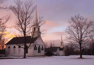 New Salem Town Common Winter Sunset Poster by John Burk