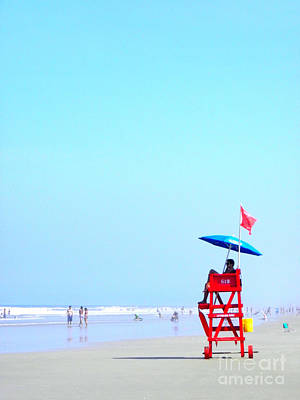 Poster featuring the digital art New Smyrna Lifeguard by Valerie Reeves