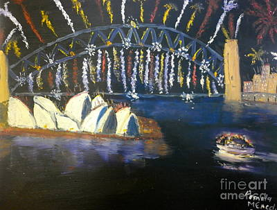 Poster featuring the painting New Year Eve On Sydney Harbour by Pamela  Meredith