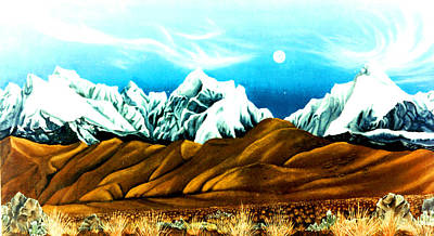 New Years Moonrise Qver Cojata Peru Bolivian Frontier Poster by Anastasia Savage Ealy