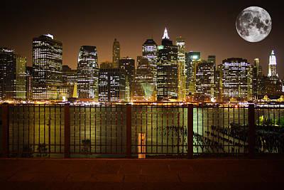 New York - Night Moon Landscape Poster