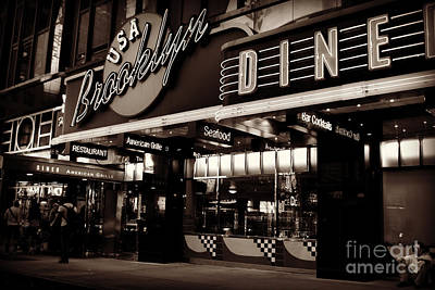 New York At Night - Brooklyn Diner - Sepia Poster by Miriam Danar