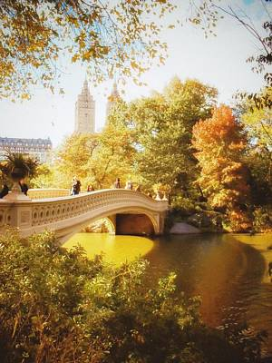 New York Autumn - Central Park - Bow Bridge Poster by Vivienne Gucwa