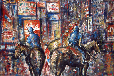 New York Broadway At Night - Oil On Canvas Painting Poster