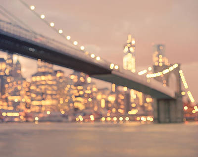New York City And The Brooklyn Bridge - Night Lights Poster by Vivienne Gucwa