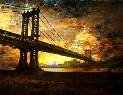 Poster featuring the digital art New York City Bridge by Bruce Rolff