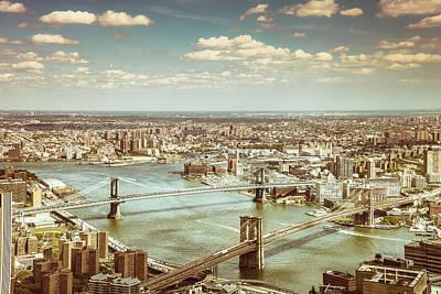 New York City - Brooklyn Bridge And Manhattan Bridge From Above Poster