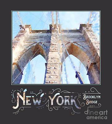 New York City Brooklyn Bridge Digital Watercolor Poster