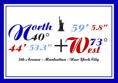 Poster featuring the digital art New York City Coordinates by Art Photography