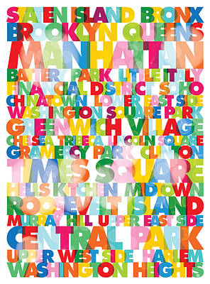 New York City Names Poster by Gary Grayson