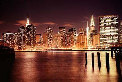 New York City - Night Poster by Vivienne Gucwa
