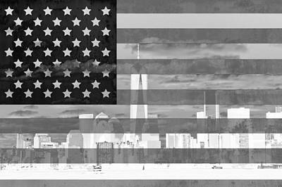 New York City On American Flag Black And White Poster