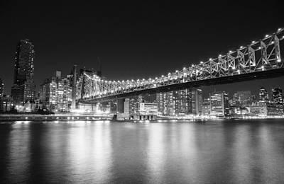 New York City - Queensboro Bridge At Night Poster by Vivienne Gucwa