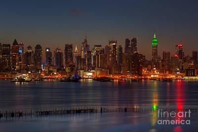 New York City Saint Patricks Day Skyline I Poster by Clarence Holmes