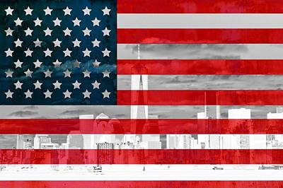 New York City Skyline And American Flag Poster
