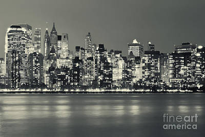 New York City Skyline At Night Poster by Sabine Jacobs