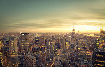 New York City - Skyline At Sunset Poster by Vivienne Gucwa