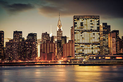 New York City Skyline - Evening View Poster